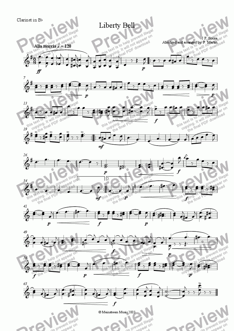 page one of the Clarinet in Bb part from Liberty Bell