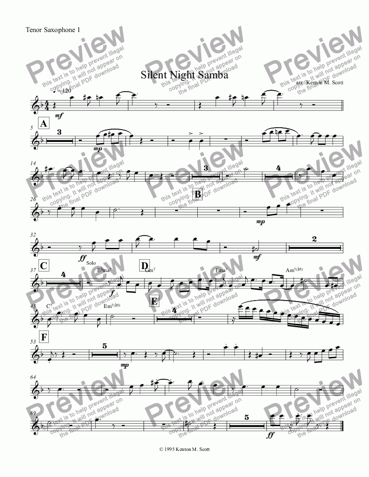 page one of the Tenor Saxophone 1 part from Silent Night Samba