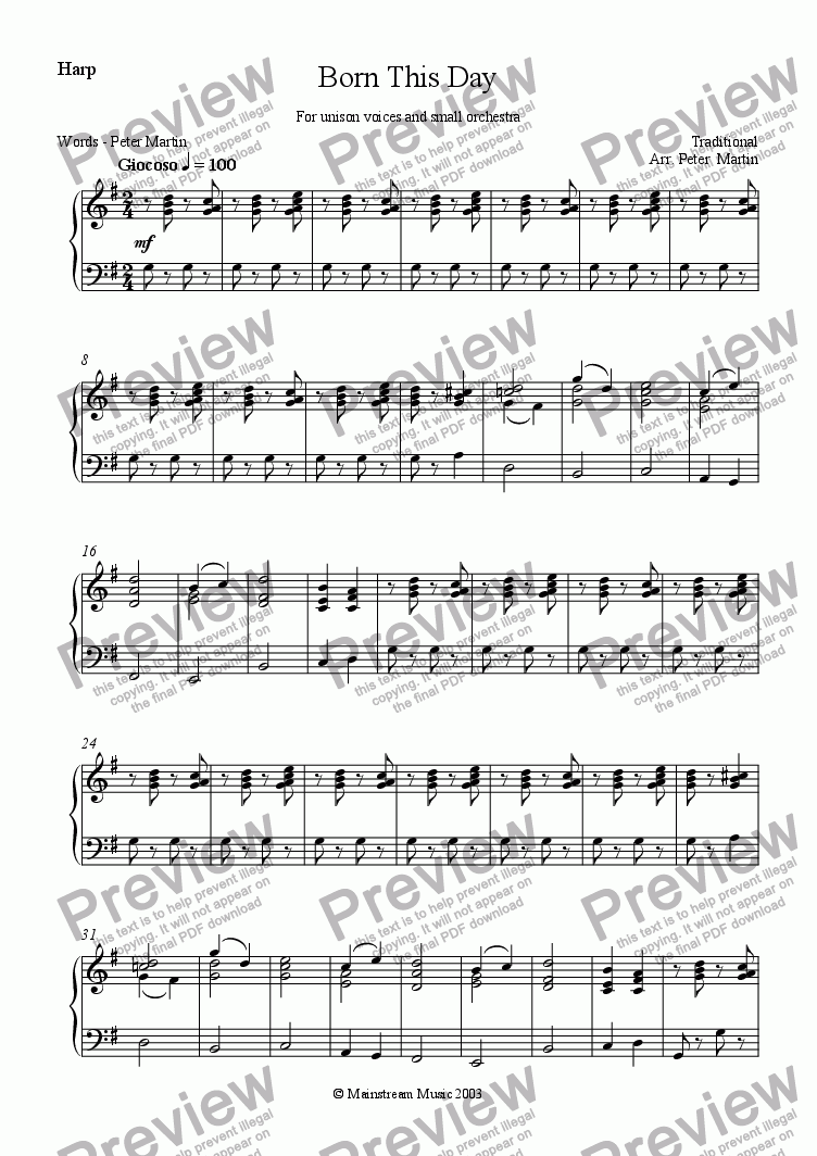 page one of the Harp part from Born this Day