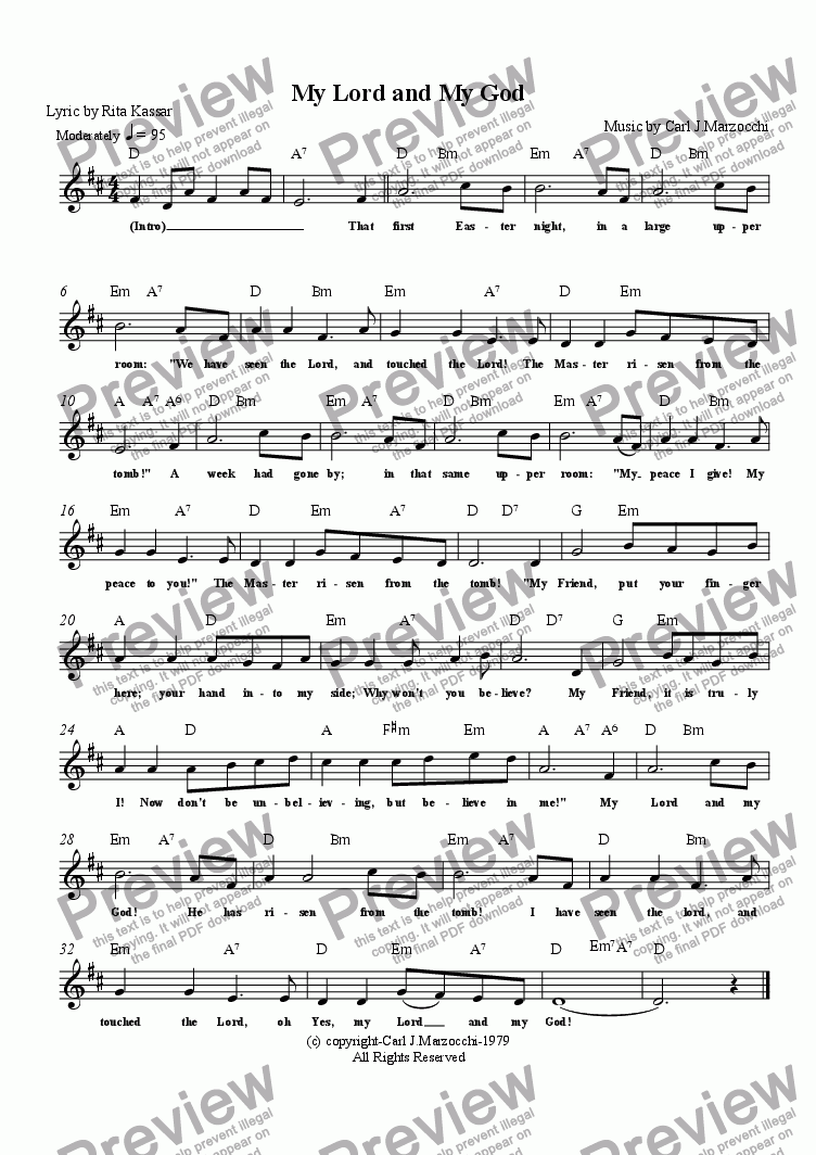 page one of the Guitar/Vocal Lead Sheet part from My Lord and My God
