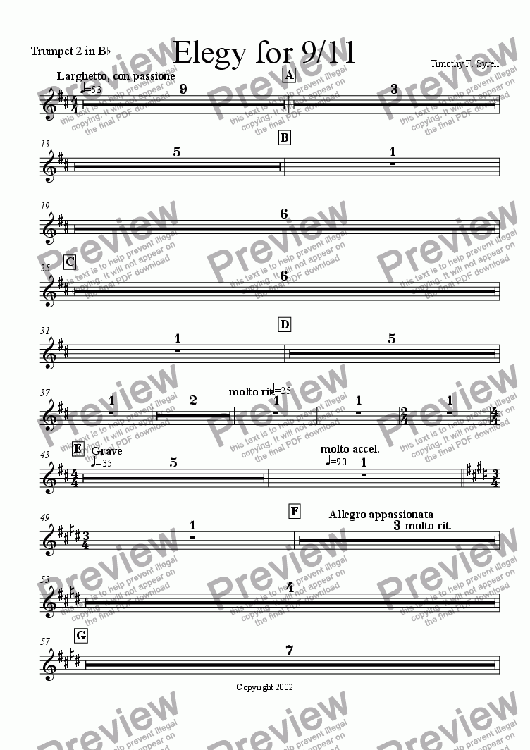 page one of the Trumpet 2 in Bb part from Elegy for 9/11