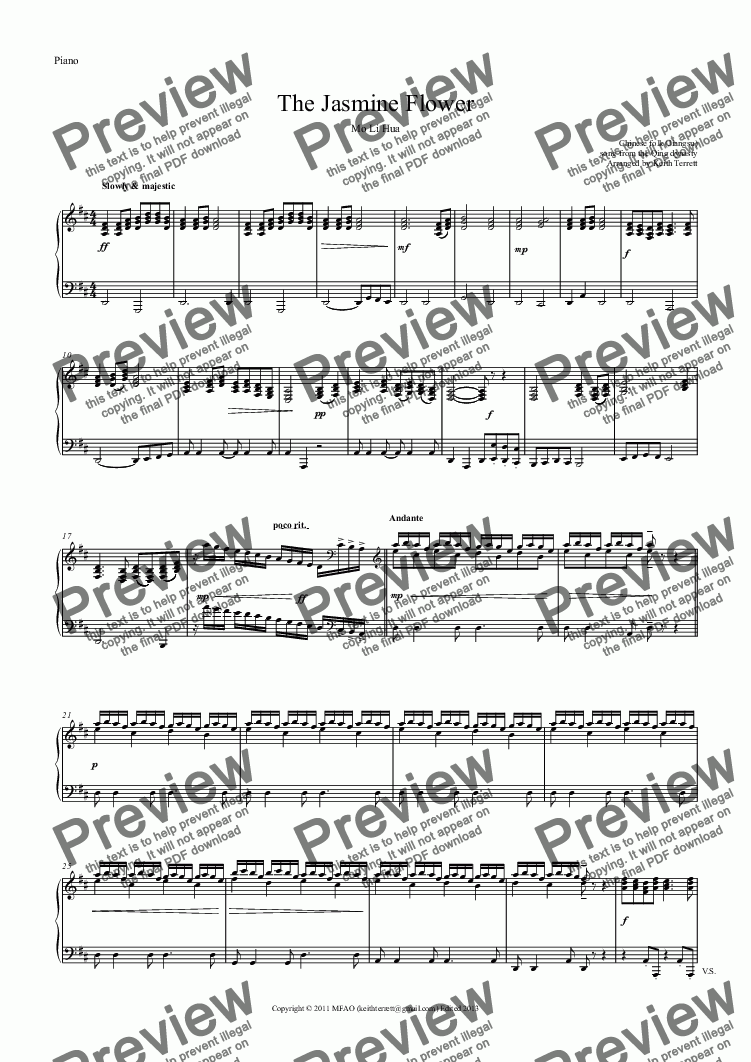 page one of the Piano part from Jasmine Flower (The) for solo Flute & Piano (Keith Terrett Classic Woodwind Series)