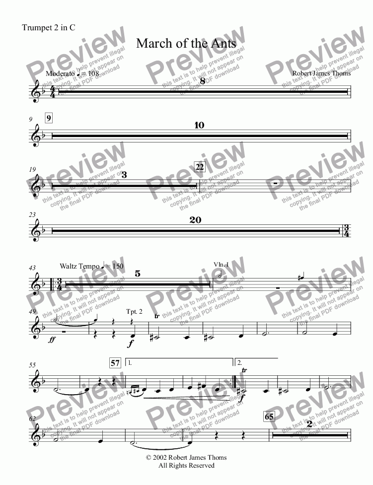 page one of the Trumpet 2 in C part from  March of the Ants