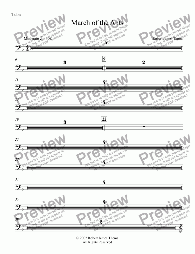 page one of the Tuba part from  March of the Ants
