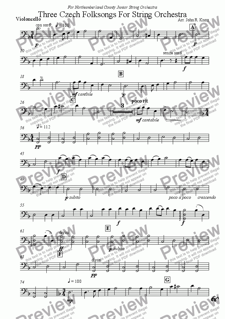 page one of the Violoncello part from Three Czech Folksong For String Orchestra