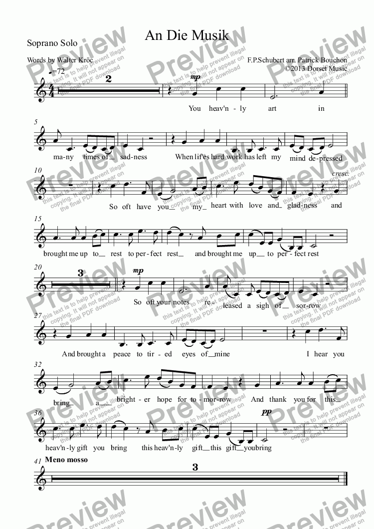 page one of the SATB Choir part from Schubert - An Die Musik for Choir and orchestra