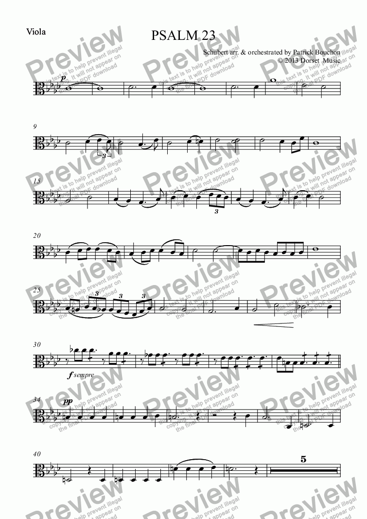 page one of the Viola part from Schubert - Psalm 23 for choir and Orchestra