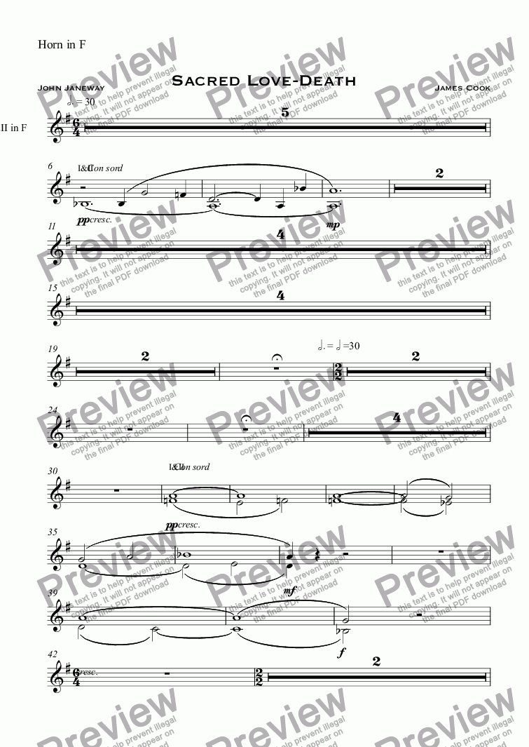 page one of the Horn in F part from Sacred Love-Death
