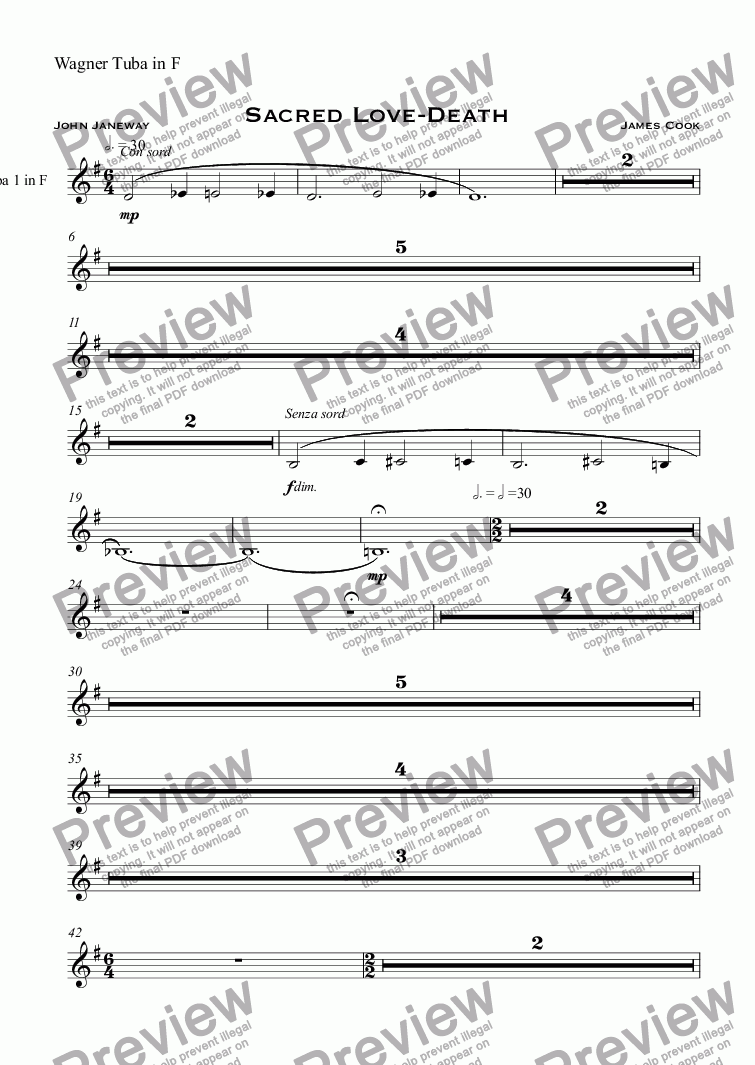 page one of the Wagner Tuba in F part from Sacred Love-Death