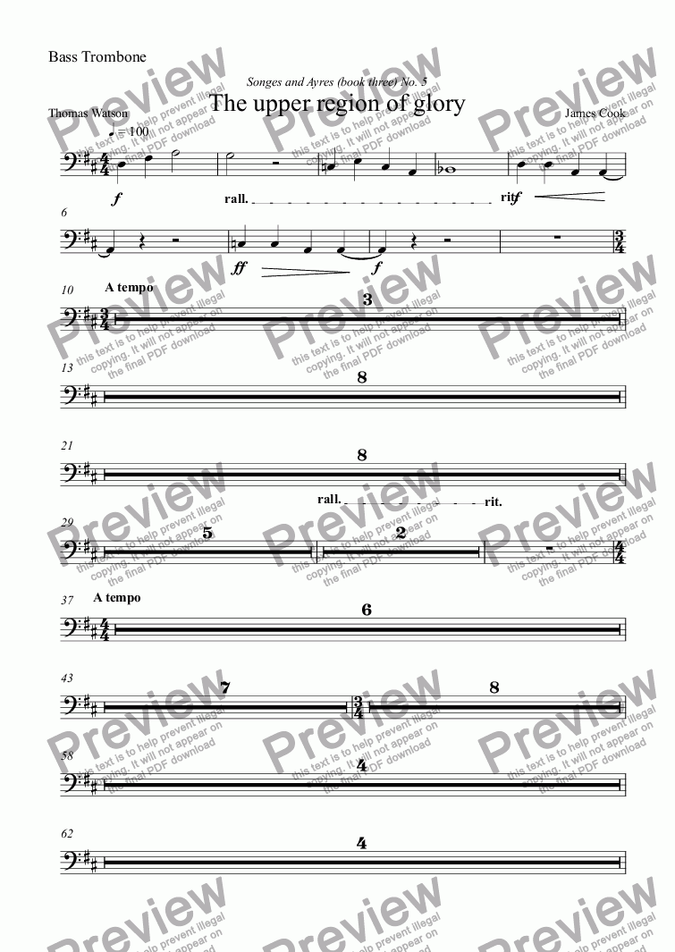 page one of the Bass Trombone part from The upper region of glory