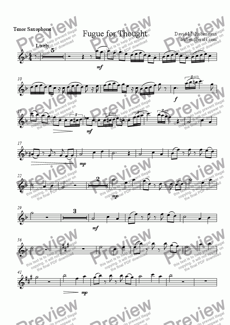 page one of the Tenor Saxophone part from Fugue for Thought