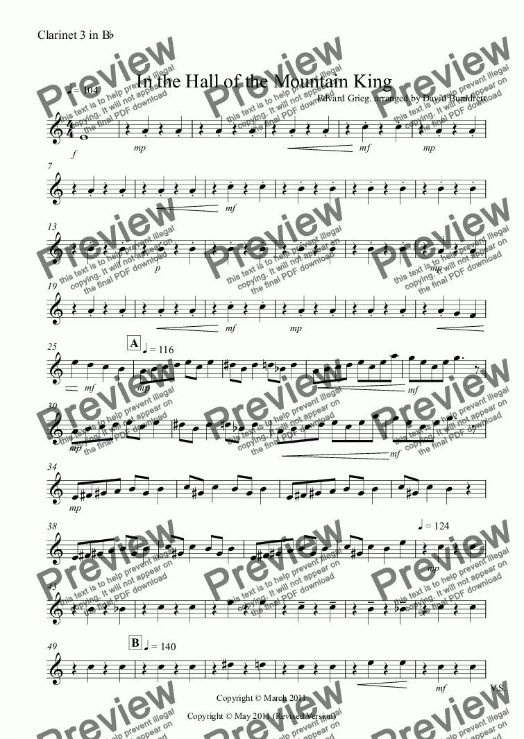 page one of the Clarinet 3 in Bb part from In the Hall of the Mountain King for Clarinet Quartet