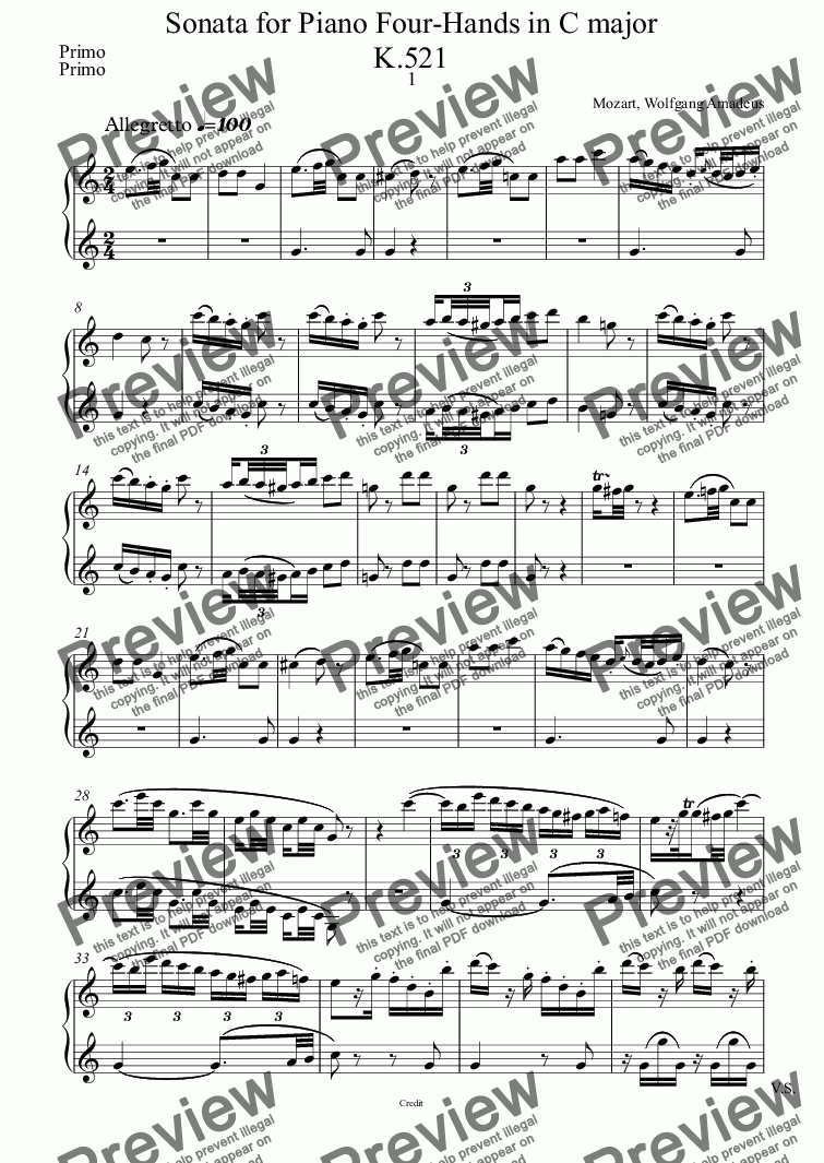 page one of the Primo part from <b>Sonata in C major  K.521 </b>for Piano Four Hands