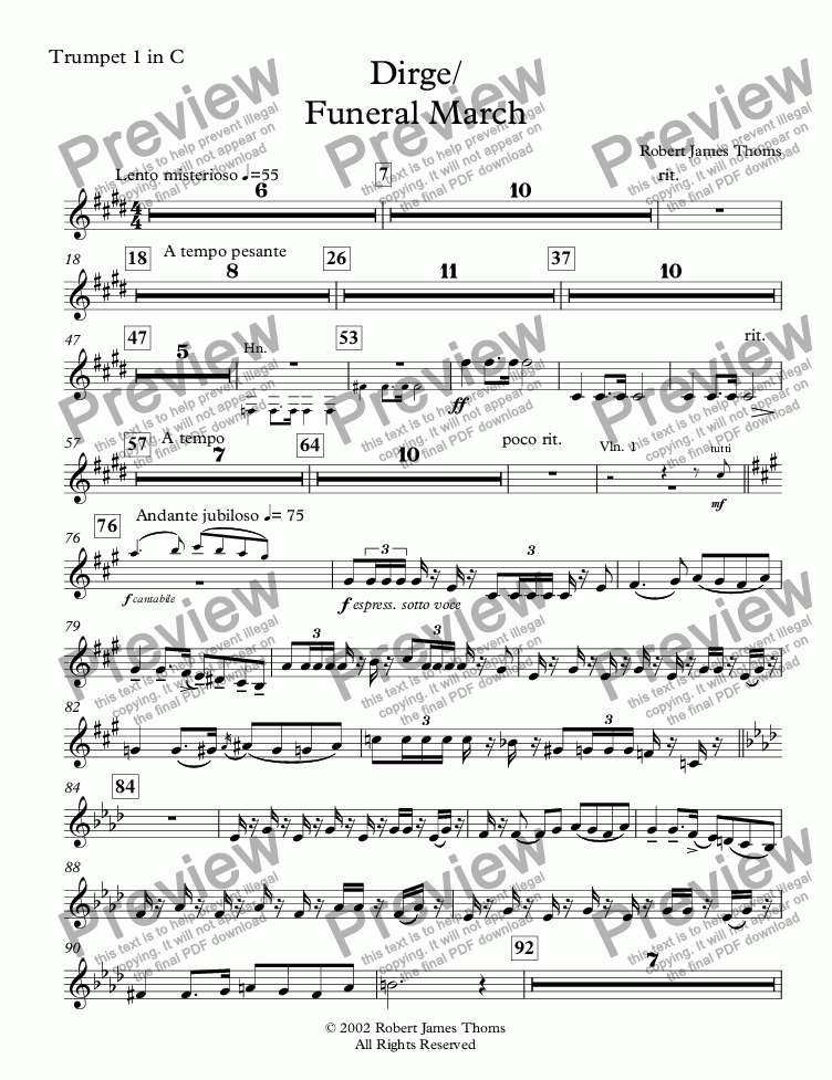 page one of the Trumpet 1 in C part from  Dirge / Funeral March