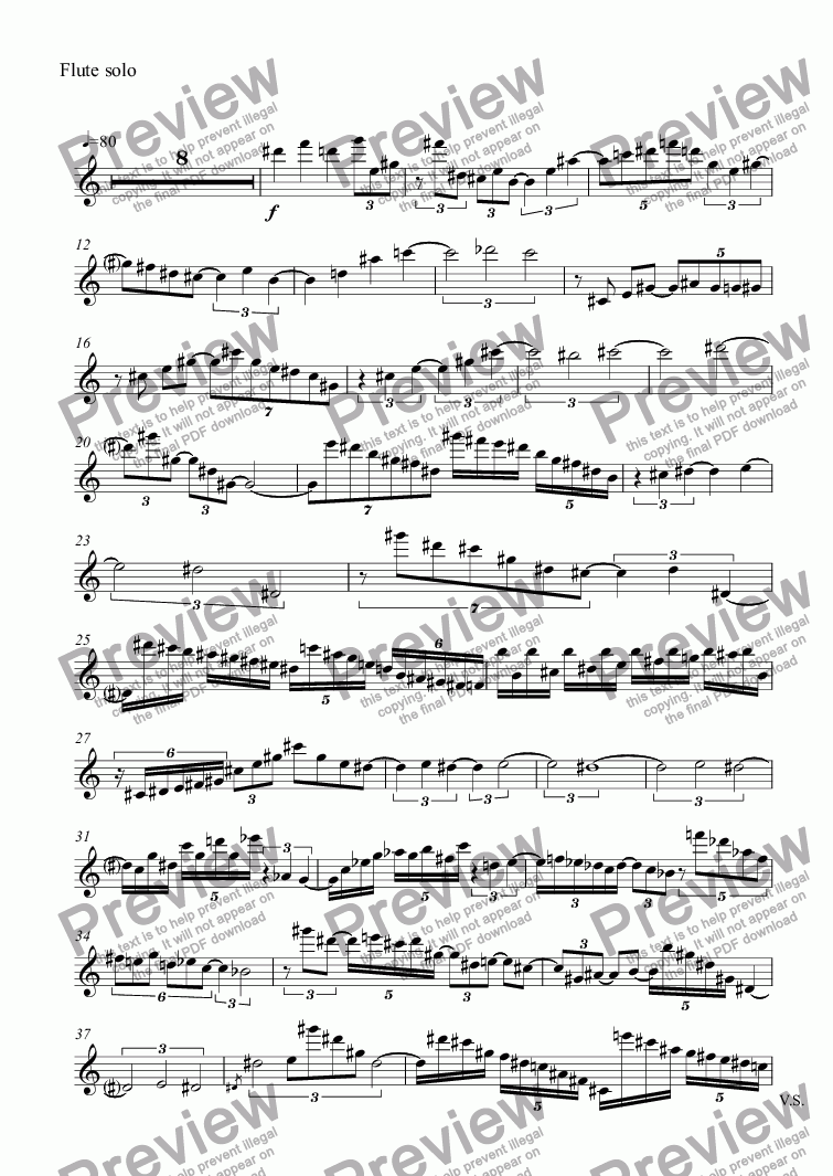 page one of the Flute solo part from Flute Concerto, Movement II