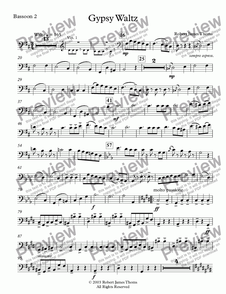 page one of the Bassoon 2 part from  Gypsy Waltz