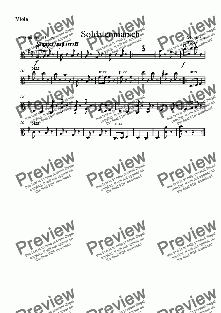 page one of the Viola part from Soldiers' March - Download sheet music