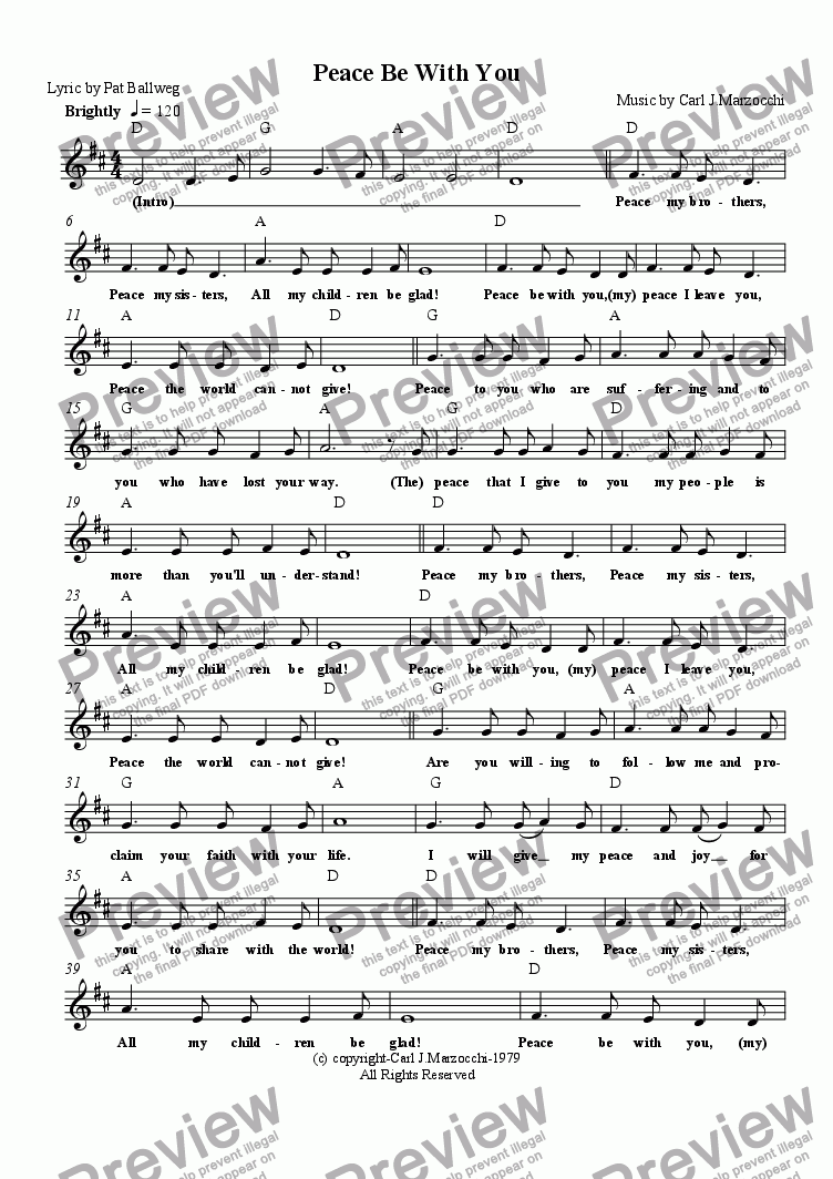 page one of the Guitar/Vocal Lead Sheet part from Peace Be With You