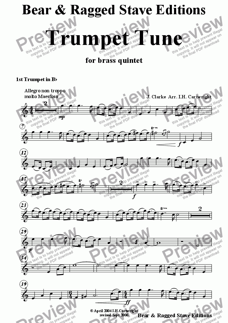 page one of the 1st Bb trumpet part from Trumpet Tune for brass quintet (optional Timpani)