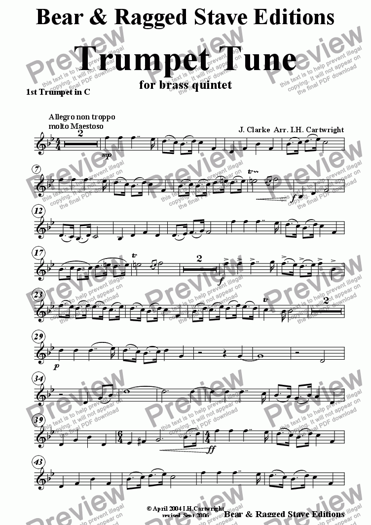 page one of the 1st trumpet in C part from Trumpet Tune for brass quintet (optional Timpani)