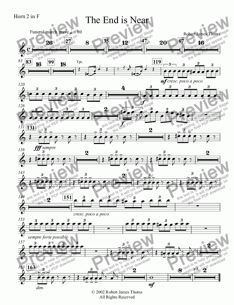 page one of the Horn 2 in F part from  The End is Near