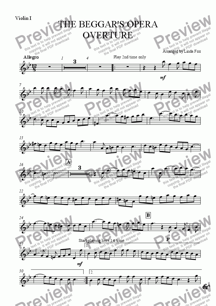 page one of the Violin I part from The Beggar's Opera: Overture