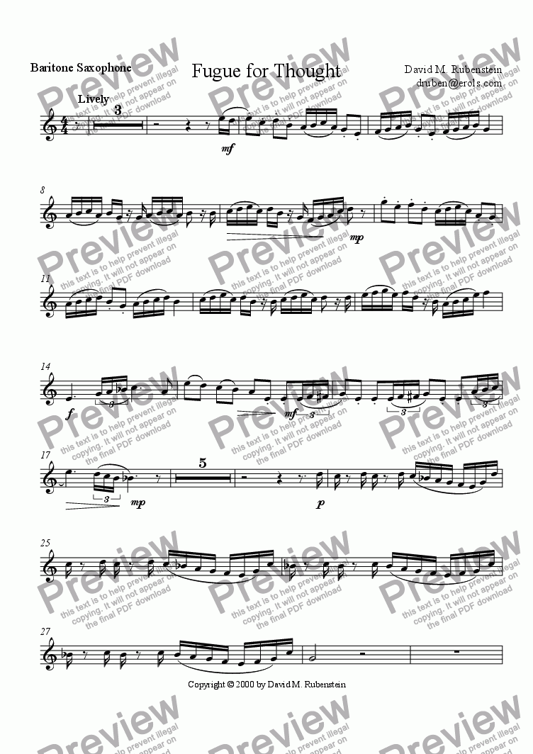page one of the Baritone Saxophone part from Fugue for Thought