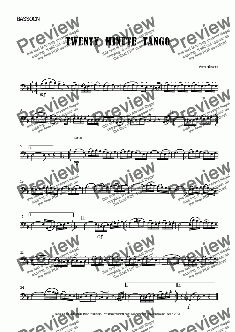 page one of the Bassoon part from Twenty Minute Tango for Bassoon & Piano