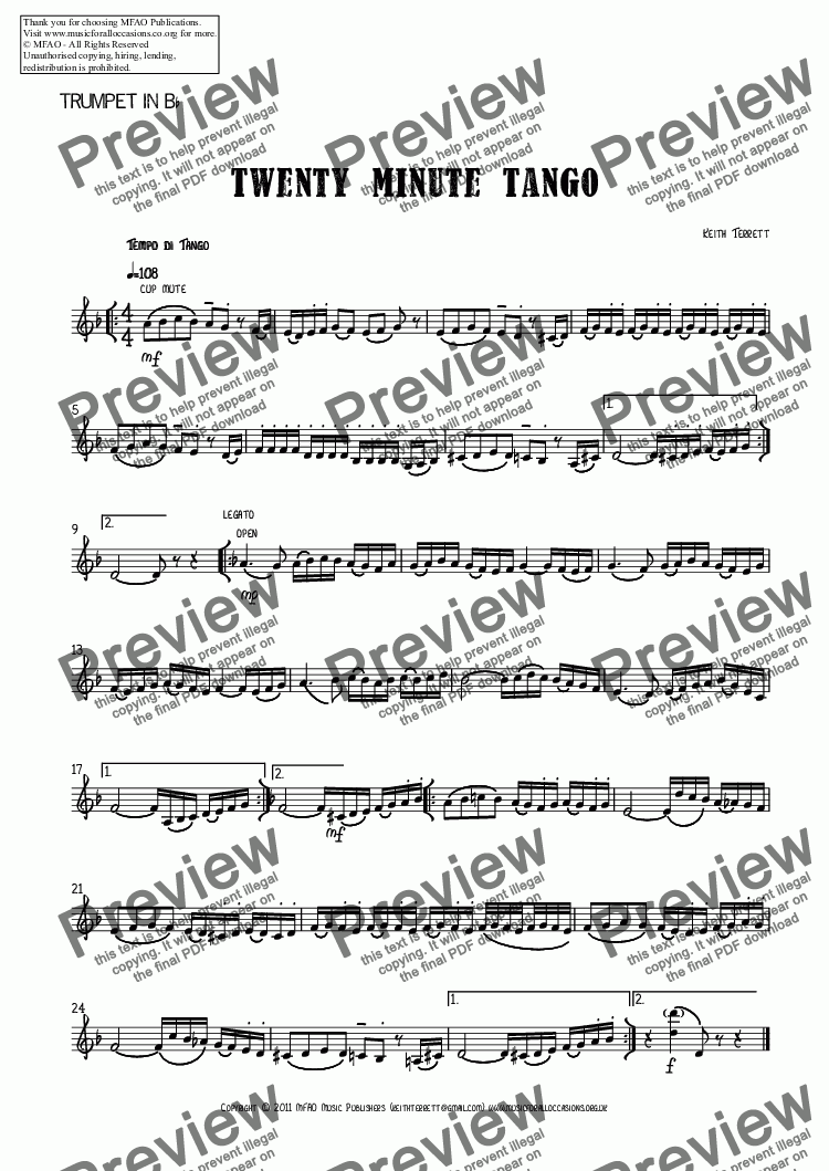 page one of the Trumpet in B^b part from Twenty Minute Tango for Bb Trumpet & Piano.