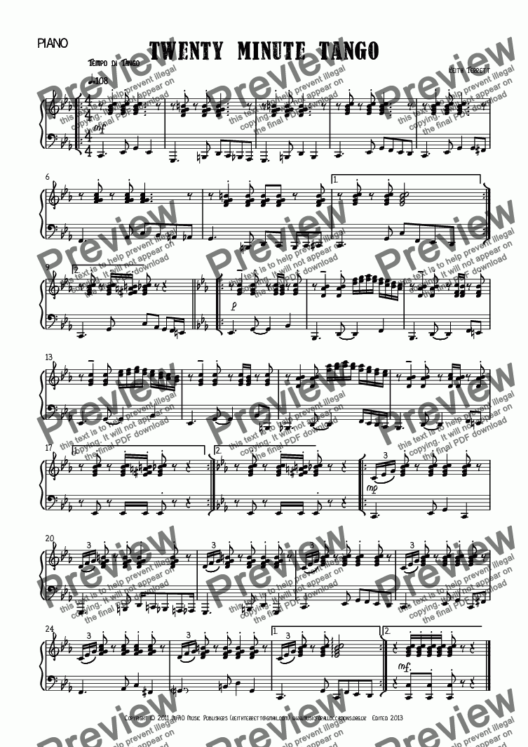 page one of the Piano part from Twenty Minute Tango for Eb Alto Saxophone & Piano