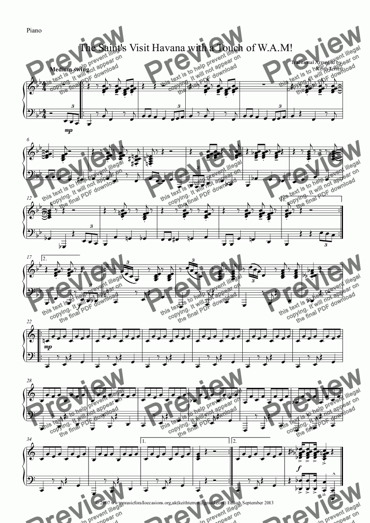 page one of the Piano part from The Saint's Visit Havana with a Touch of W.A.M for Bb Trumpet & Piano