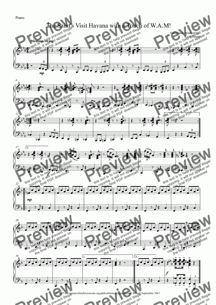 page one of the Piano part from The Saint's Visit Havana with a Touch of W.A.M. for  Eb Tenor Horn & Piano