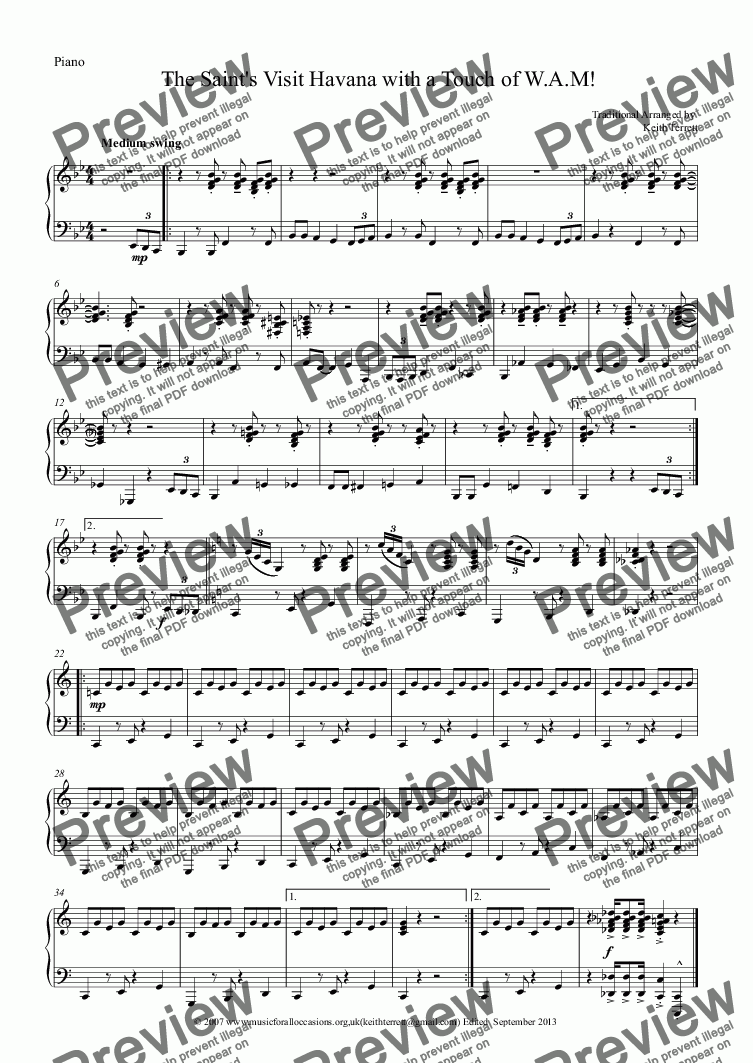 page one of the Piano part from The Saint's Visit Havana with a Touch of W.A.M. for Bb Bass Clarinet & Piano
