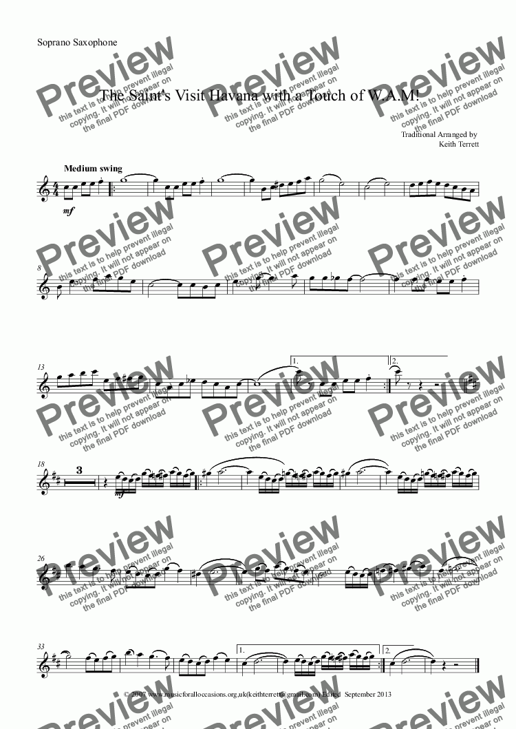 page one of the Soprano Saxophone part from The Saint's Visit Havana with a Touch of W.A.M. for Bb Soprano Saxophone & Piano