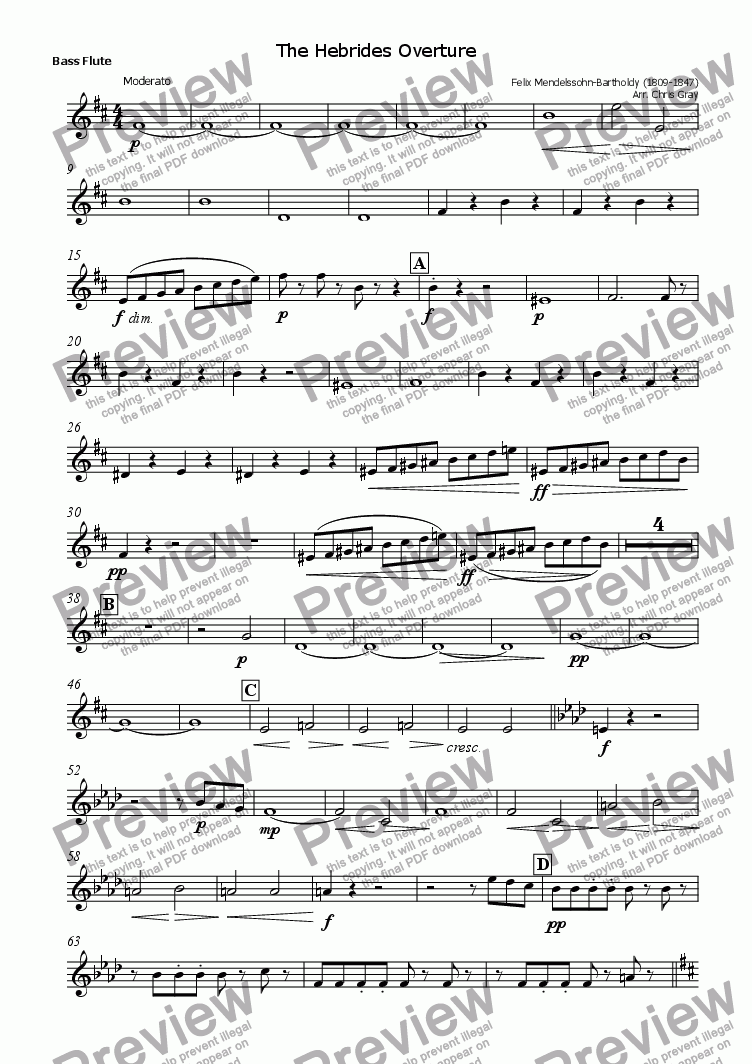 "page one of the Bass Flute part from ""Hebrides Overture"" for flutes"