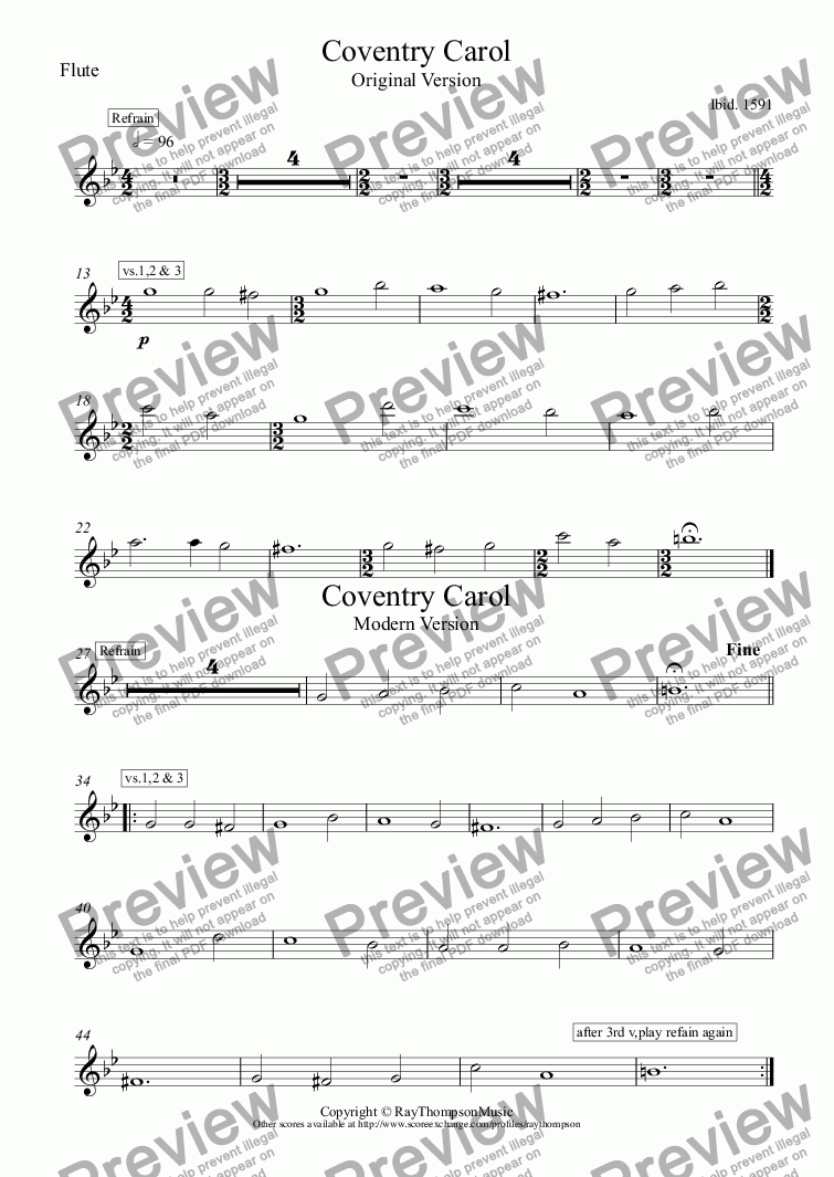page one of the Flute part from Coventry Carol (Lully,Lullah) (old and modern versions)