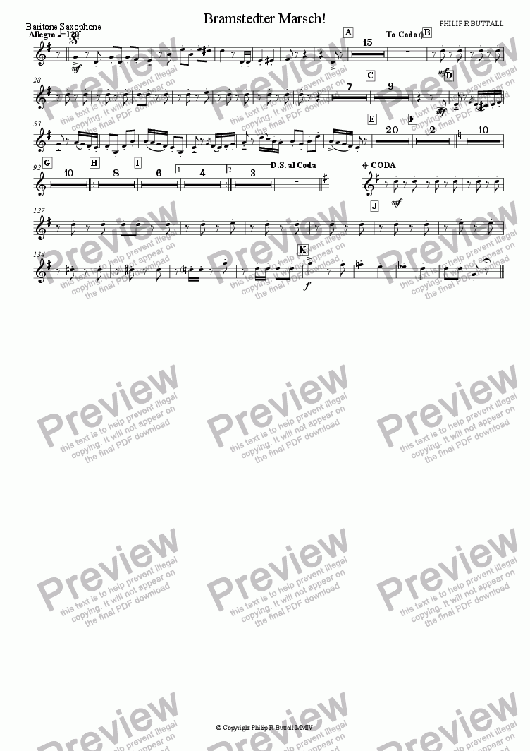 page one of the Baritone Saxophone part from Bramstedter Marsch! (Wind Band)