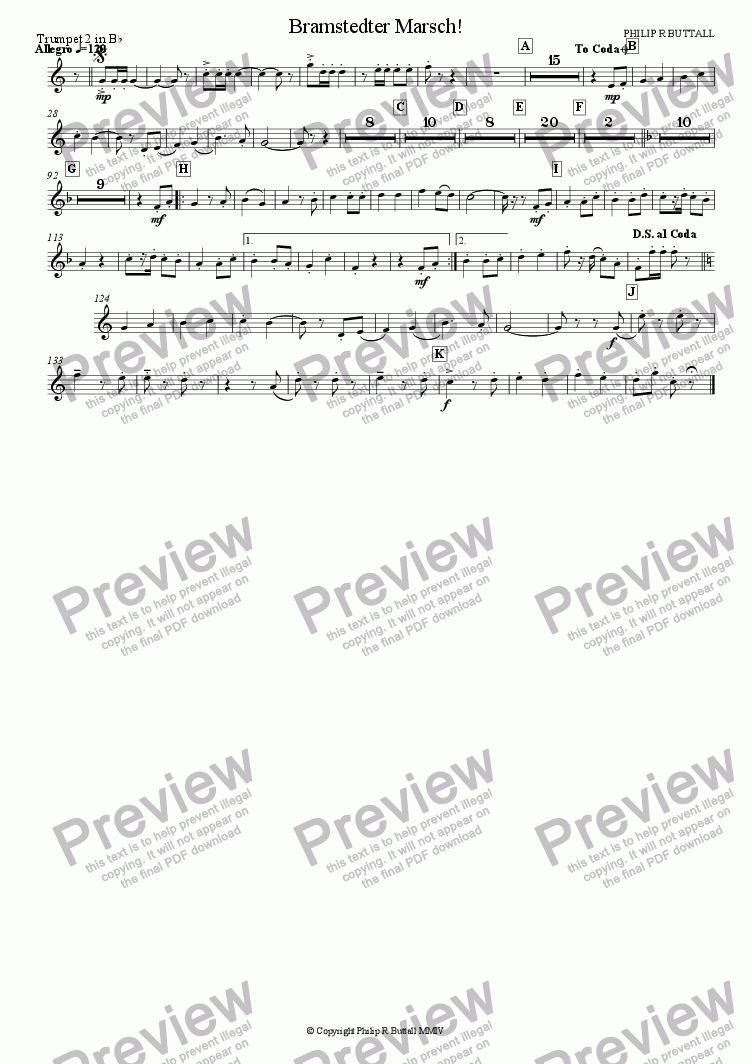page one of the Trumpet 2 in Bb part from Bramstedter Marsch! (Wind Band)