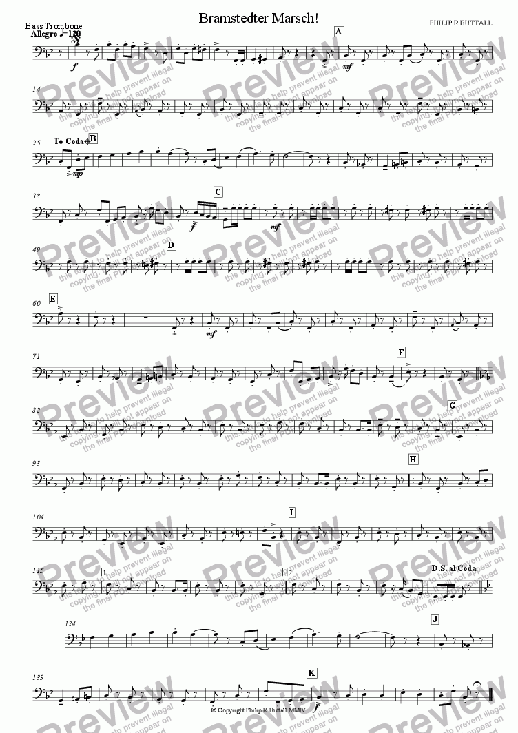page one of the Bass Trombone part from Bramstedter Marsch! (Wind Band)