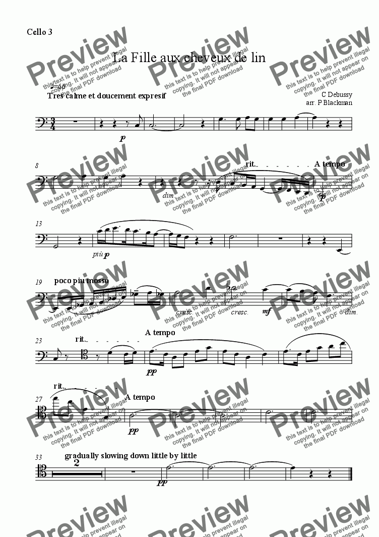 page one of the cello 3 part from La fille aux cheveux de lin for celli