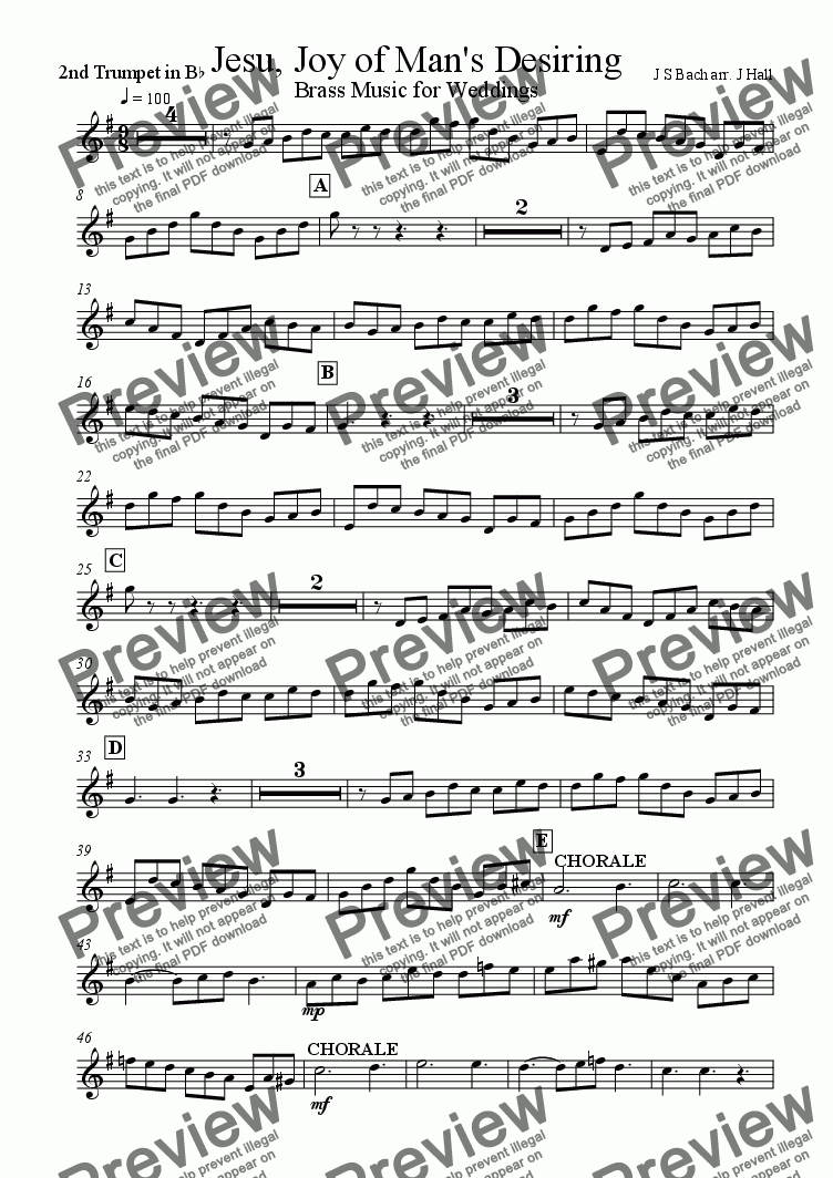 page one of the Trumpet 2 part from Jesu Joy of Mans Desiring - Brass Music for Weddings