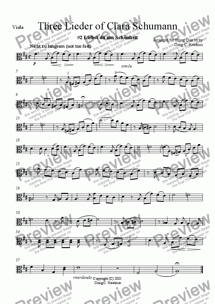 "page one of the Viola part from Three Lieder of Clara Schumann: No. 2 ""Liebst du um Sch�nheit"""