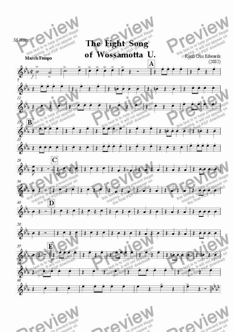 page one of the 3d Horn in F part from Fight Song of Wossamotta U. (march)