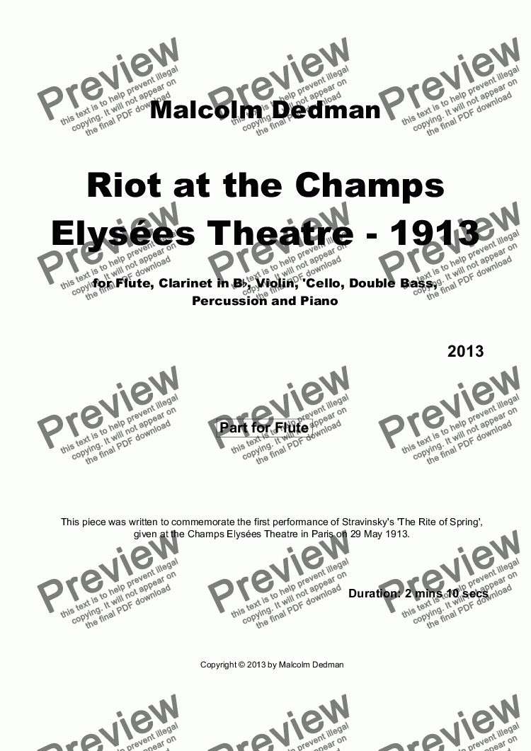 page one of the Flute part from Riot at the Champs Elysées Theatre - 1913