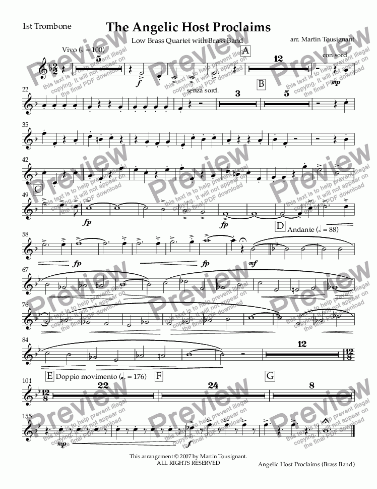 page one of the 1st Trombone part from Angelic Host Proclaims, The