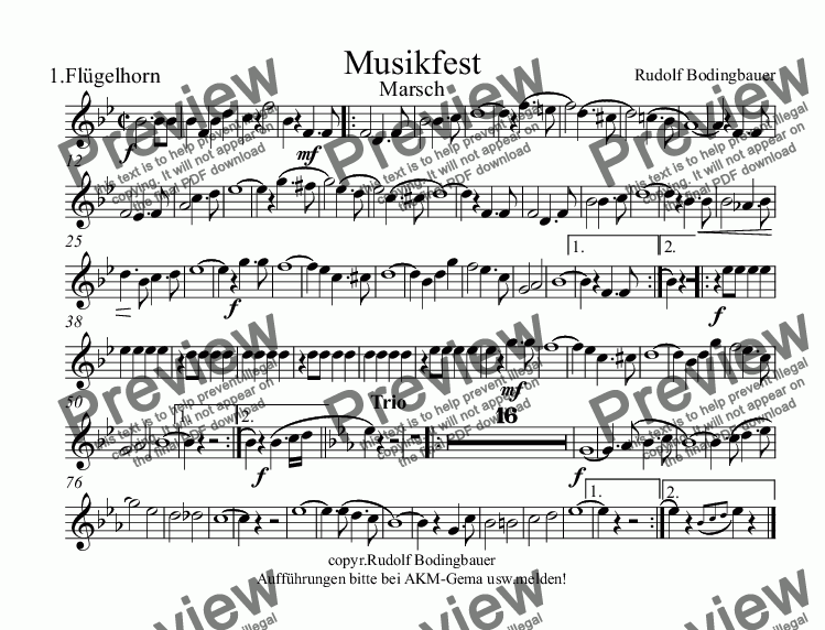 page one of the 1.Flügelhorn part from Musikfest Marsch