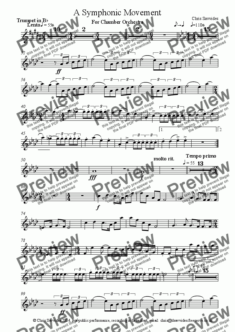 page one of the Trumpet in Bb part from A Symphonic Movement