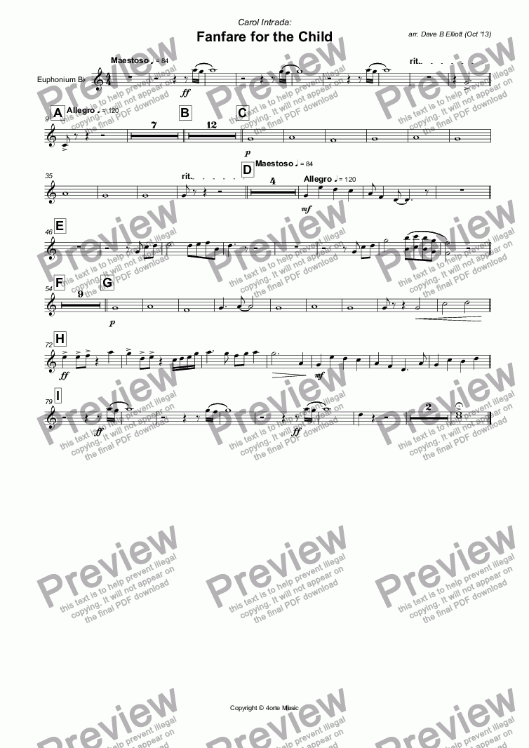 page one of the Euphonium B^b part from Fanfare for the Child (Carol Intrada)