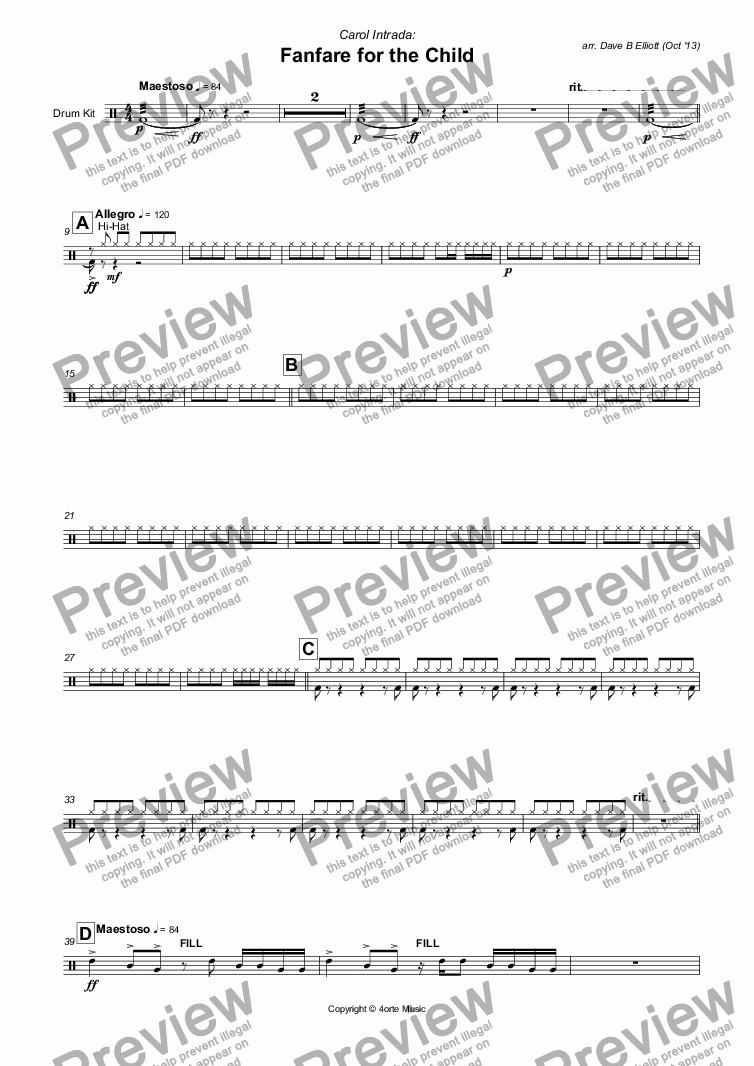 page one of the Drum Kit part from Fanfare for the Child (Carol Intrada)