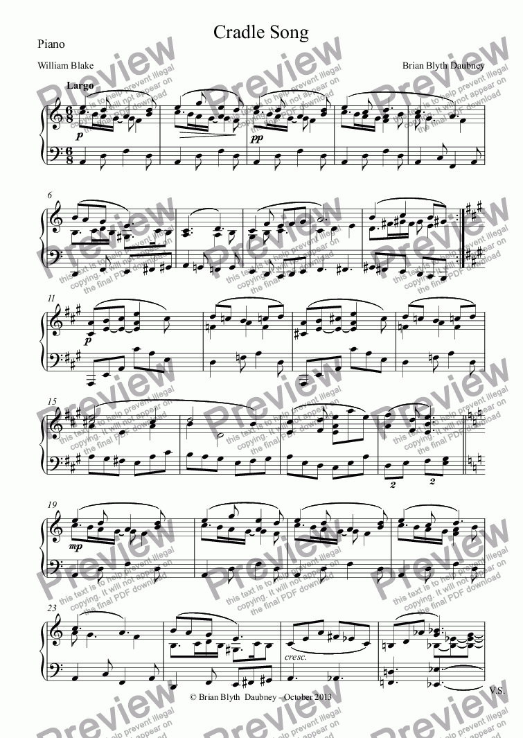 page one of the Piano part from Settings of William Blake